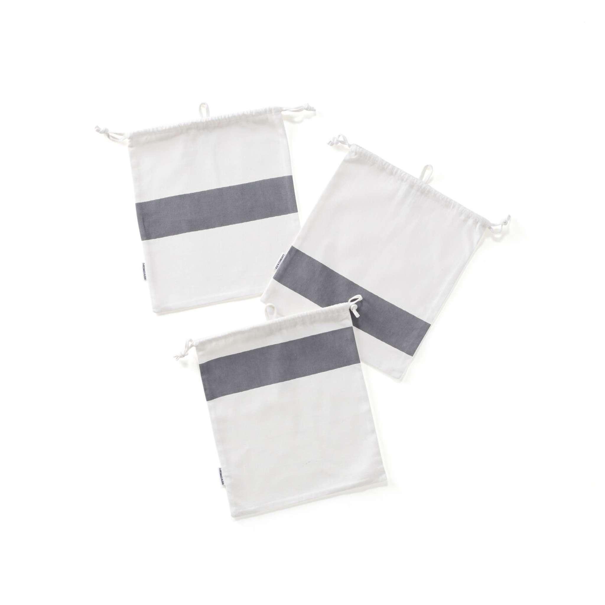 Förvaringspåsar bomull 3-set grå