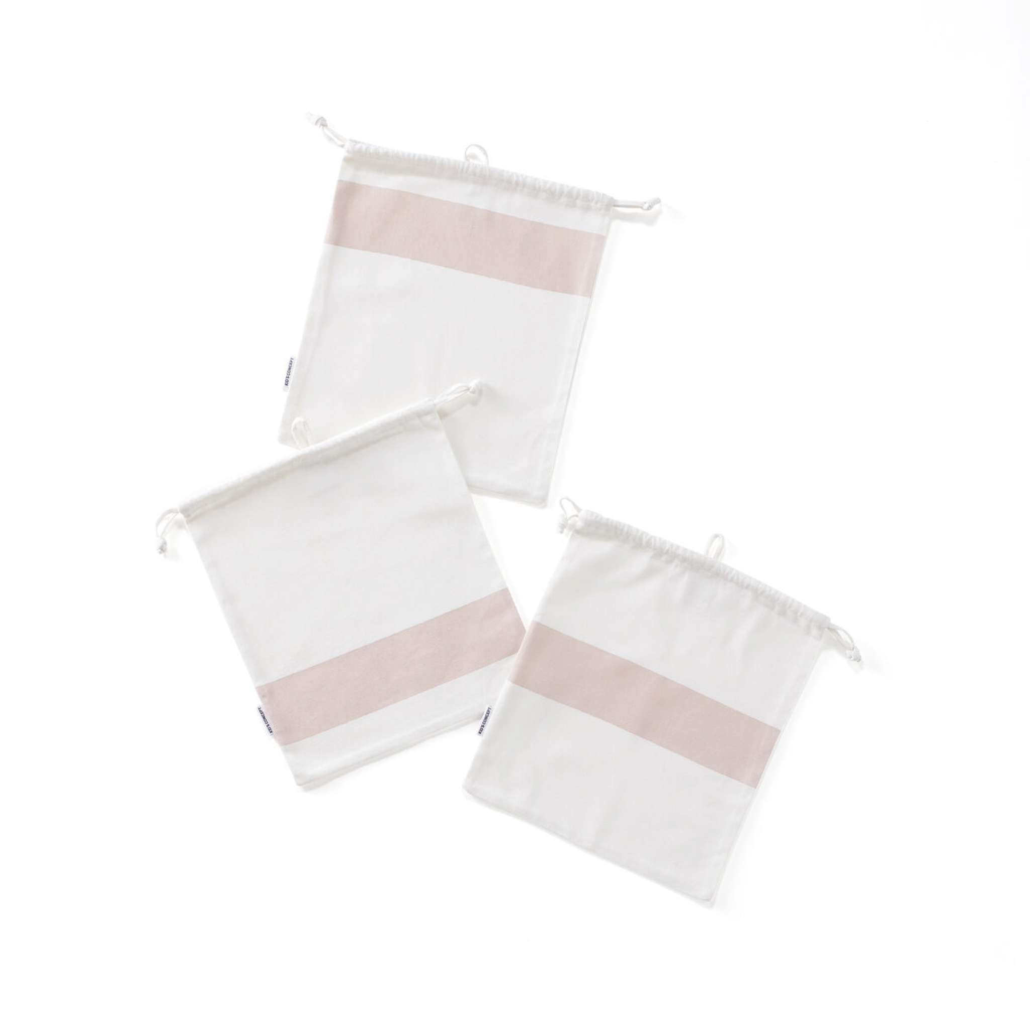 Förvaringspåsar bomull 3-set rosa