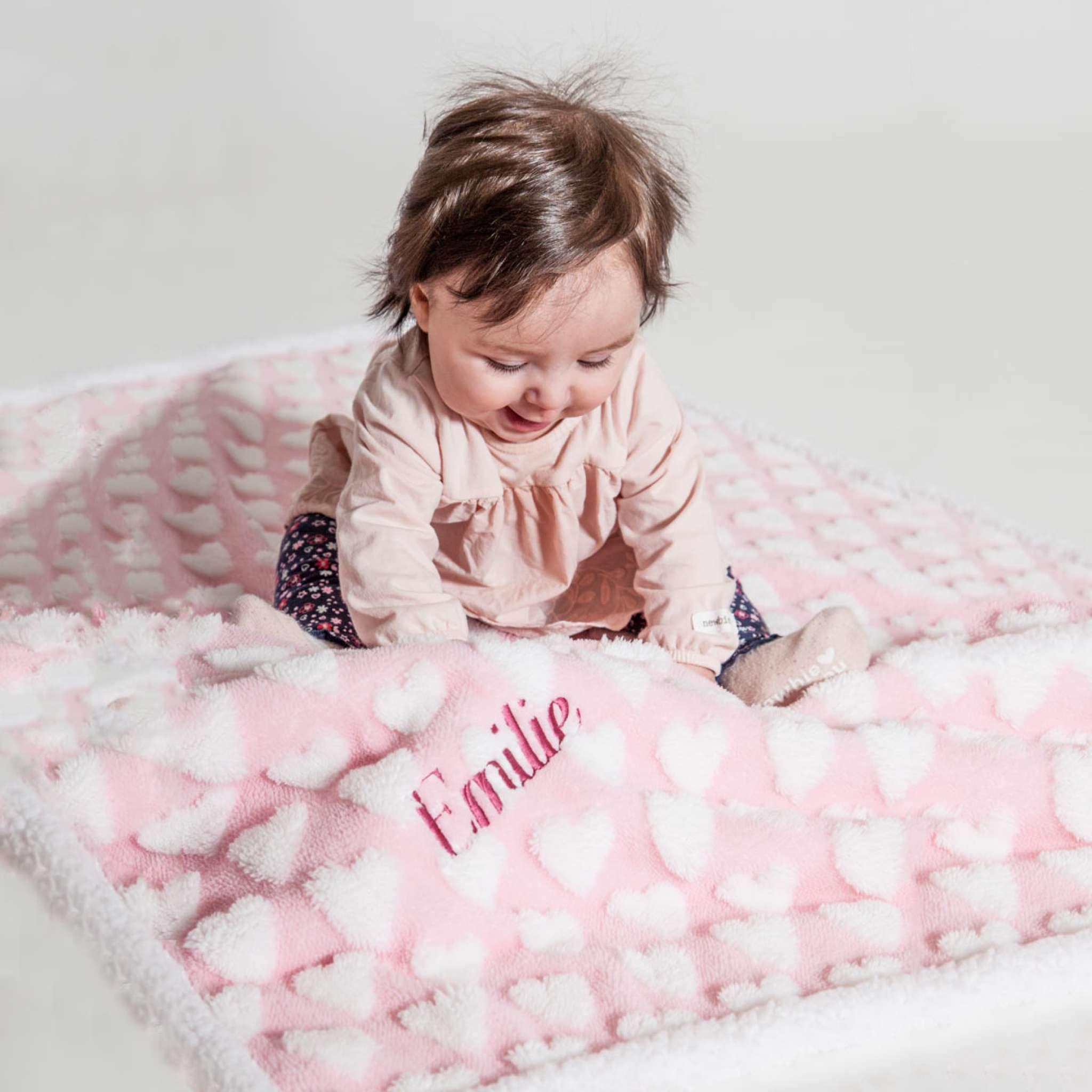 Baby sherpapläd ljus rosa