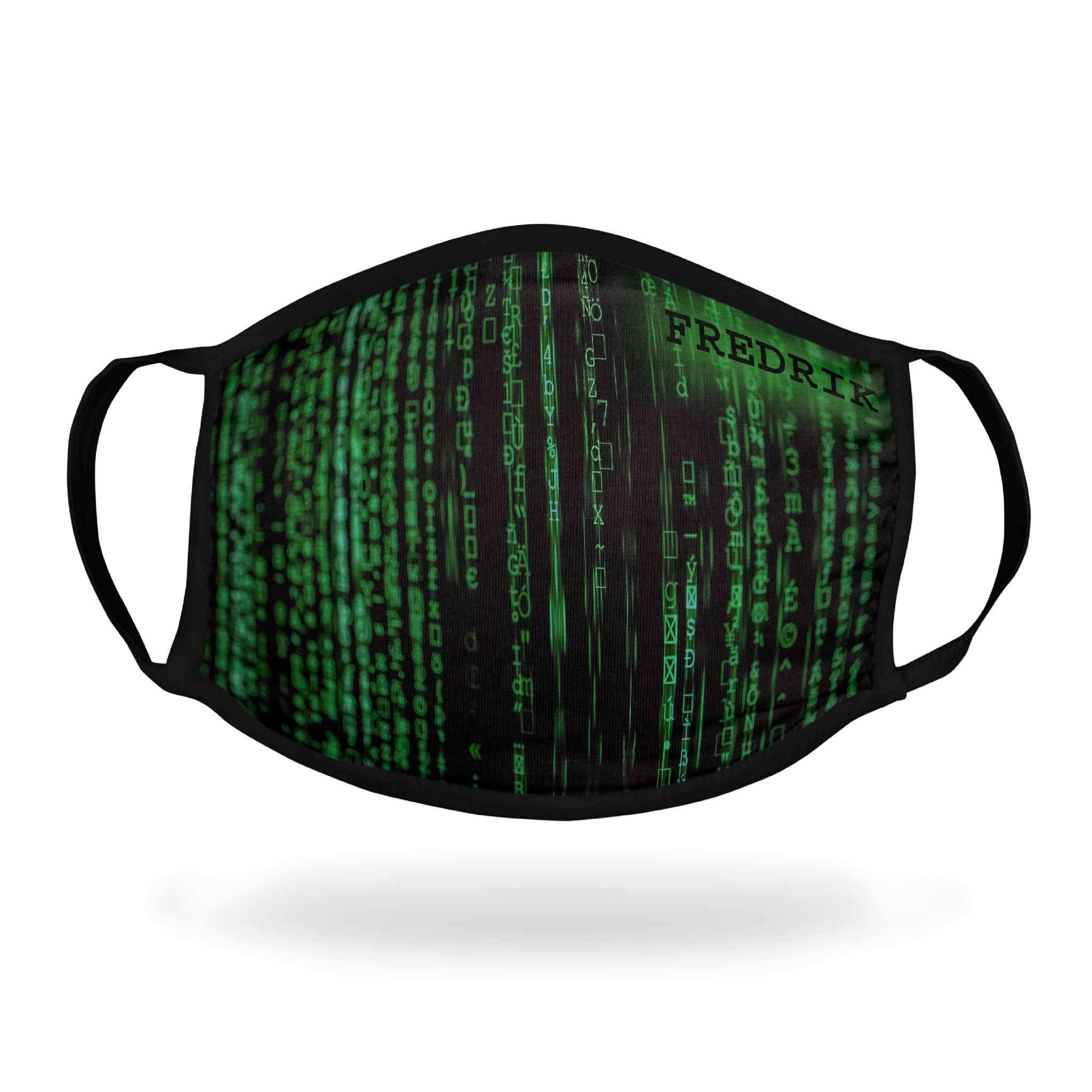 Tygmunskydd med motiv Matrix