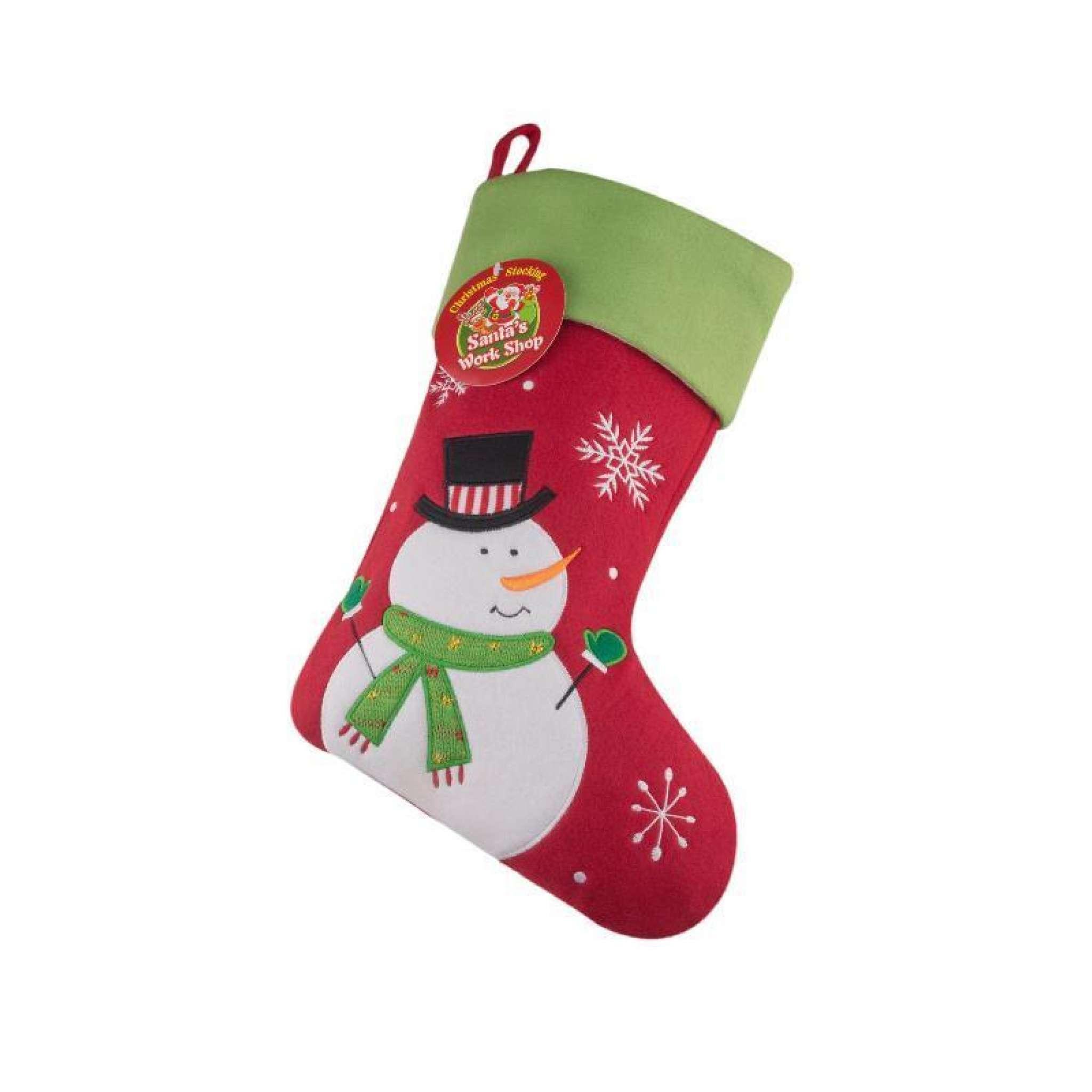 Julstrumpa Premium, Snögubbe Röd/Grön