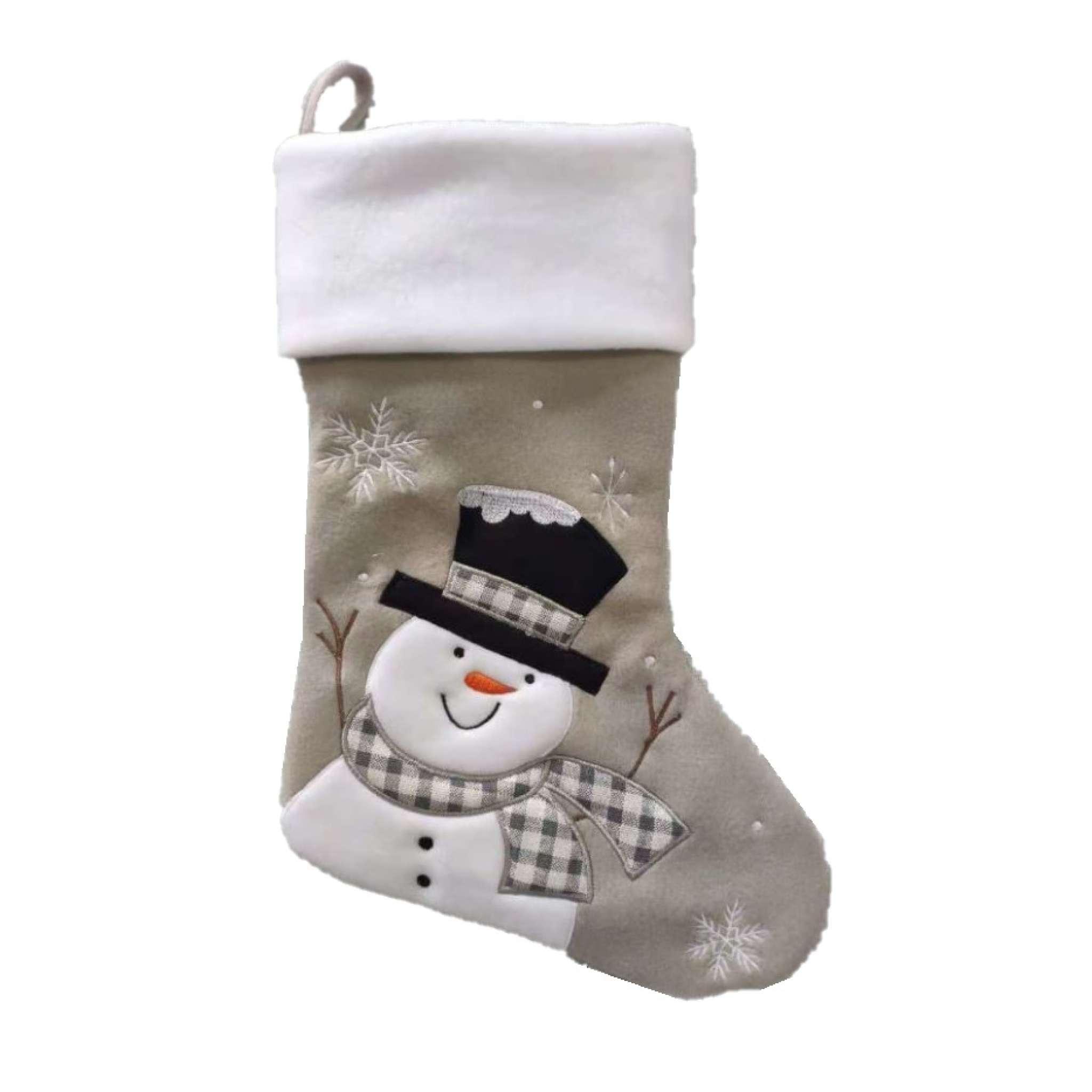 Julstrumpa Premium, Snögubbe, Vit