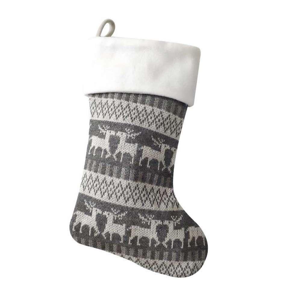 Julstrumpa Premium, grått mönster