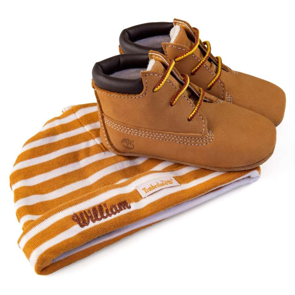 Timberland babyset med sko och mössa, beige