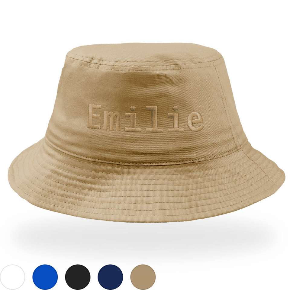 Bucket Cotton Hat med stor brodyr