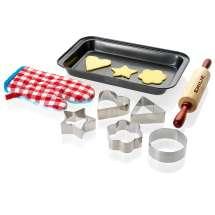 Pepparkaksformer, kavel, bakplåt och grillvante for barn