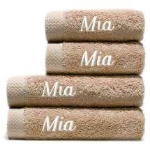 2 badhanddukar 70x140 cm och 2 handdukar 50x100 cm  <i>Beställ en ännu finare gåva med samma namn och färg. Detta är ett set med 2 mellanstora handdukar och 2 badhanddukar, så du alltid har ett till hands.</i>